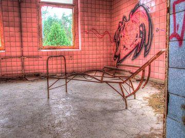 Rosa Zimmer mit rostigem Gestell einer Liege in einem alten, verlassenen Sanatorium von Tineke Visscher