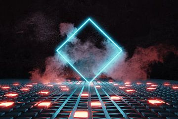 Gedraaid neon vierkant op gloeiende knoppen van Besa Art
