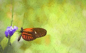 Mooie vlinder op paarse bloem, oliepastel van Rietje Bulthuis