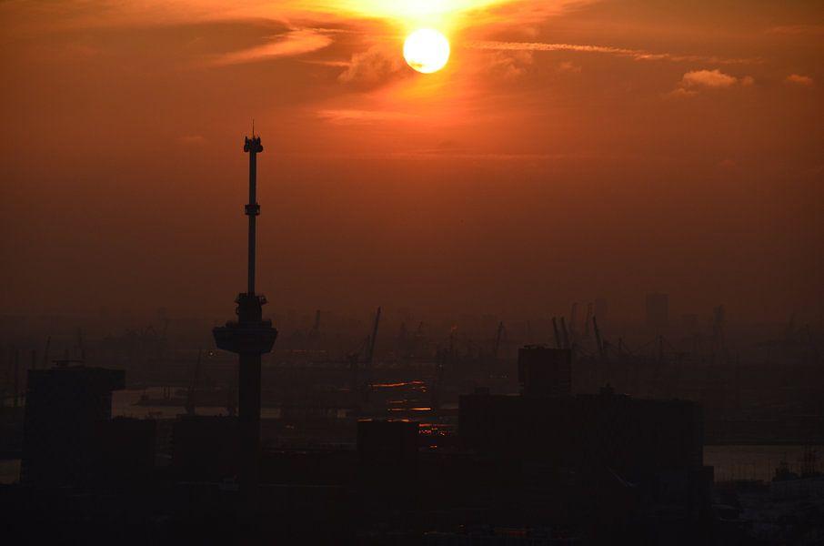 Zonsondergang boven de haven van Rotterdam