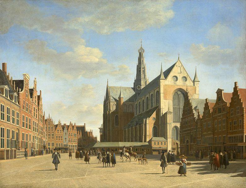 Der Große Markt in Haarlem mit der Kirche St. Bavo, Gerrit Berckheyde von Meesterlijcke Meesters