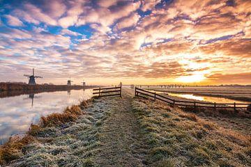 Sonnenaufgang in Kinderdijk von Ilya Korzelius