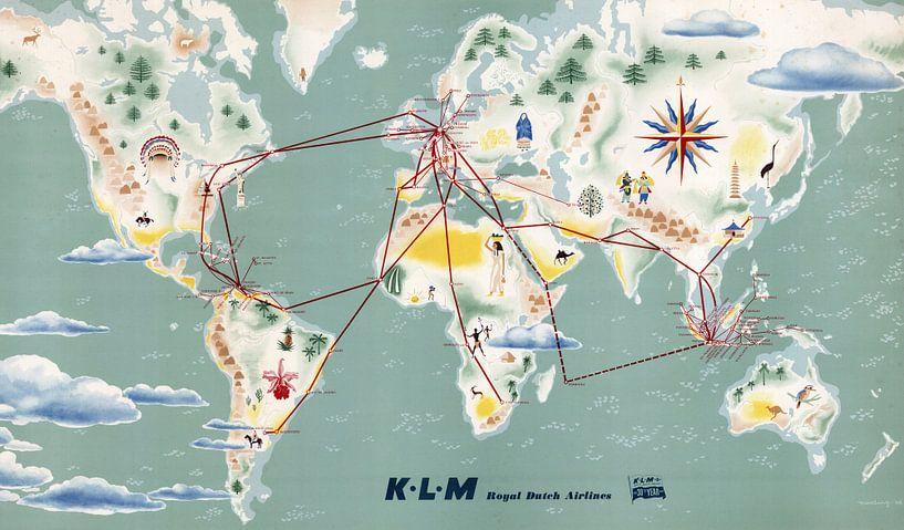 Vluchtroutes van KLM op de Kaart van World Maps