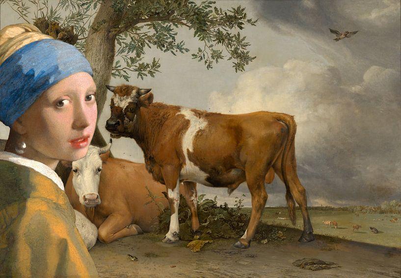 Mädchen mit dem Perlenohrring & der Stier von Eigenwijze Fotografie