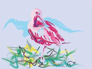 Vogel rode Ibis van Go van Kampen