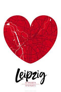 Leipzig – City Map Design Stadtplan Karte (Herz) von ViaMapia