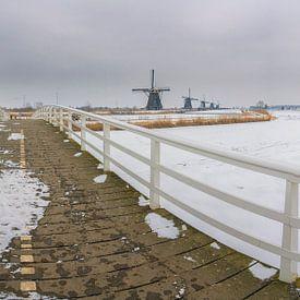 Panorama winters Kinderdijk van Jan Koppelaar