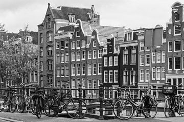 Amsterdamse Grachtenhuizen in Zwart / Wit van