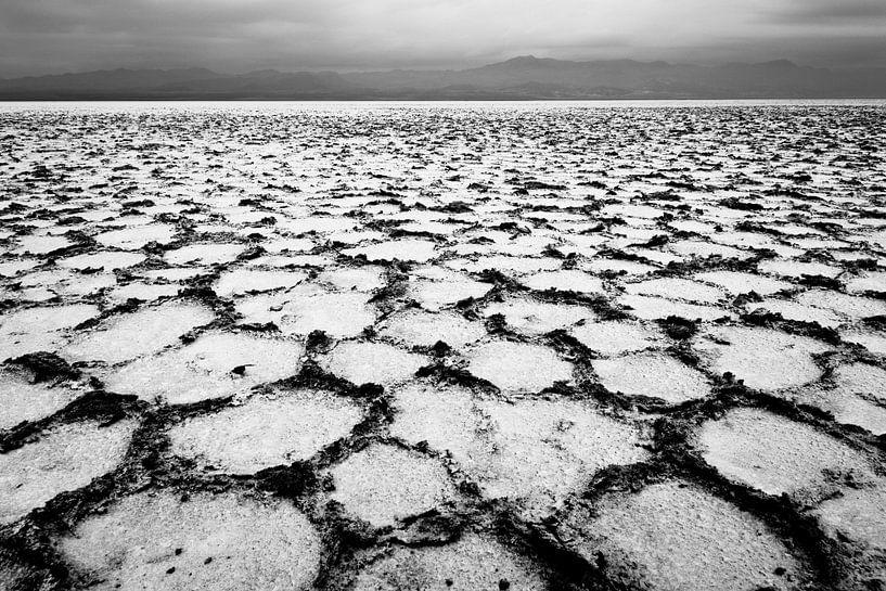 Patroon van zout in zwart-wit in een woestijn in Afrika   Ethiopië van Photolovers reisfotografie