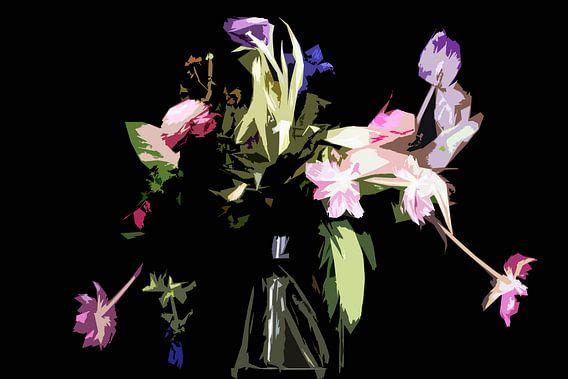 Stilleven van bloemen in een vaas van Maerten Prins