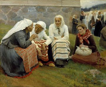 Frauen vor der Kirche in Ruokolahti, Albert Edelfelt