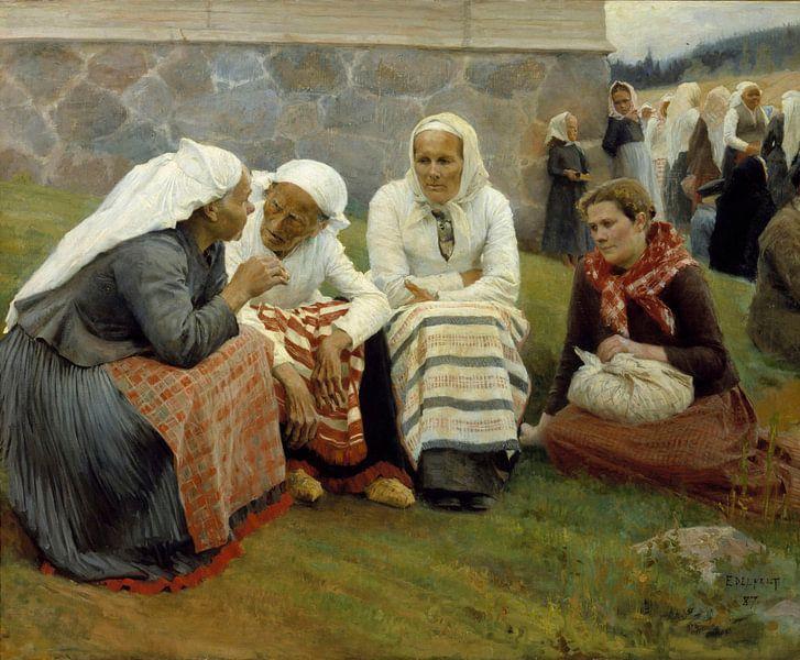 Frauen vor der Kirche in Ruokolahti, Albert Edelfelt von Meesterlijcke Meesters