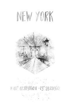 Coördinaten NYC Brooklyn Bridge | Waterverf monochroom van Melanie Viola