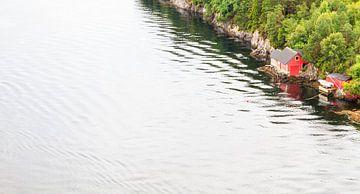 Noorse vissershut aan de rand van een meer von Christein van Hoffen