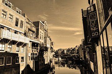 Dordrecht Wijnhaven von Scheffersplein Niederlande Sepia von Hendrik-Jan Kornelis