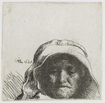 Rembrandts Mutter: nur Kopf und Gesicht, Rembrandt van Rijn