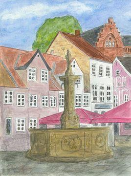 Neptunbrunnen in Flensburg von Sandra Steinke