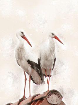 White storks van Ursula Di Chito