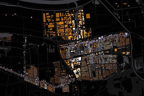Kaart van Waalwijk abstract van