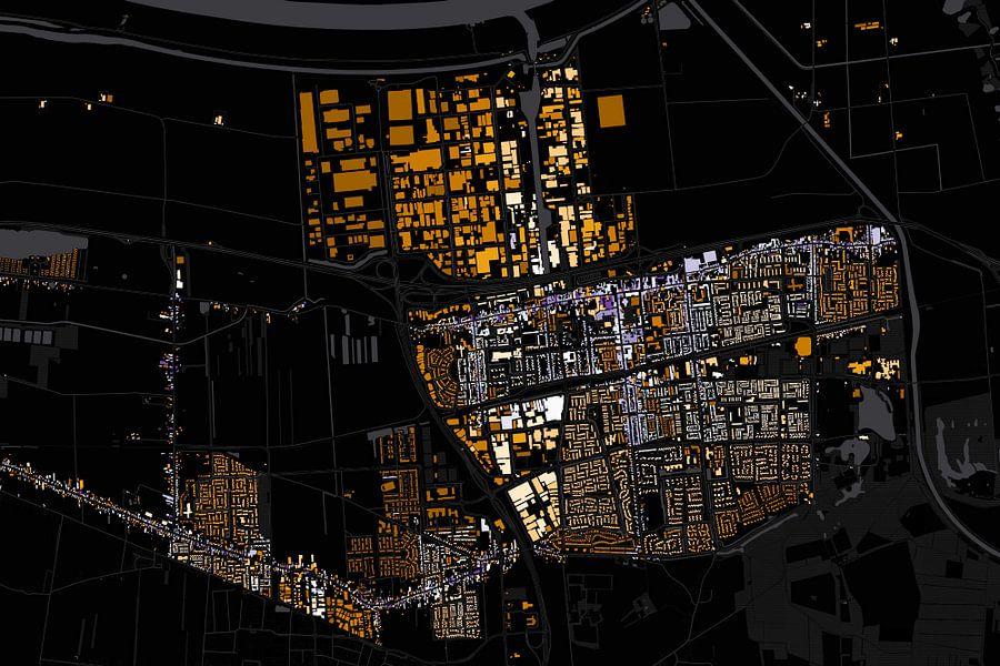 Kaart van Waalwijk abstract van Stef Verdonk