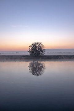 Mistige morgen bij een kanaal in Nederland van Wouter Bos