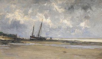 Carlos de Haes Gemälde von Meeresbewohnern, Küstenschiffe, antike Landschaft