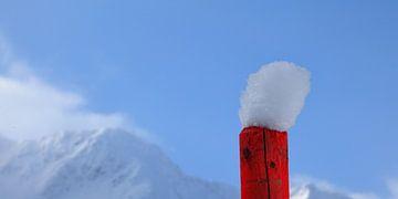 Eenzaam paaltje met sneeuwhoedje van