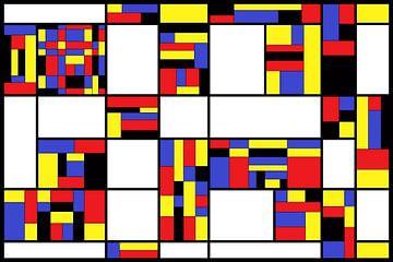 Compositie in de stijl van Piet Mondriaan van W J Kok