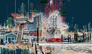 Hamburg, Elbphilharmonie und Museumsschiff Cap San Diego van