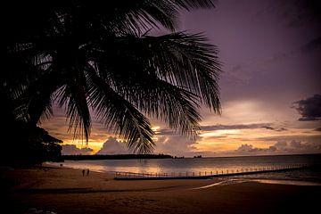 Sonnenuntergang am weißen Sandstrand von Lindy Schenk-Smit