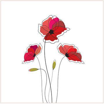 Klaproos Poppy op het wit illustratie tekening kunst wild roos van sarp demirel