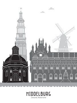 Skyline-Illustration Stadt Middelburg schwarz-weiß-grau von Mevrouw Emmer