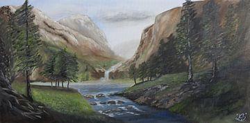 Landschap schilderij van Tess Smethurst-Oostvogel
