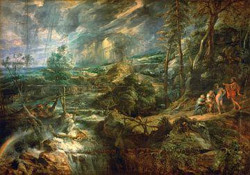 Landschap met Philemon en Baucis, Peter Paul Rubens - 1625 van Atelier Liesjes
