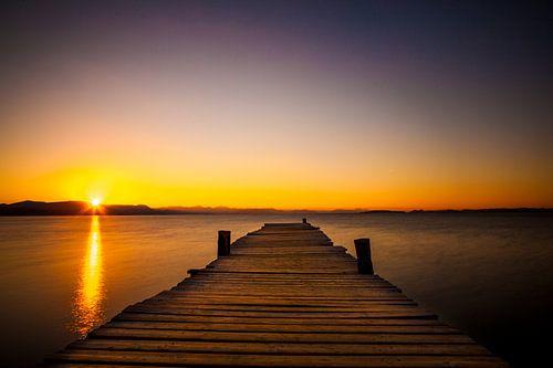 Steiger tijdens zonsopkomst, Corfu (Griekenland)