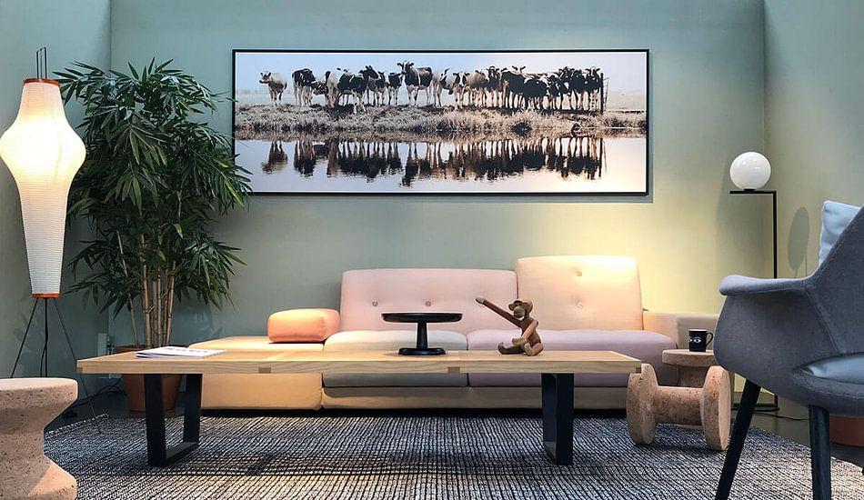 Klantfoto: cows in a row (sepia) van Annemieke van der Wiel