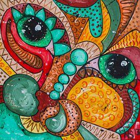 colorful Cat-1 von Nathalie Snoeijen-van Eck