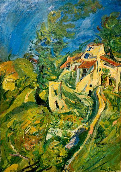 Landschaft (Haus mit Garten), Chaim Soutine von Meesterlijcke Meesters