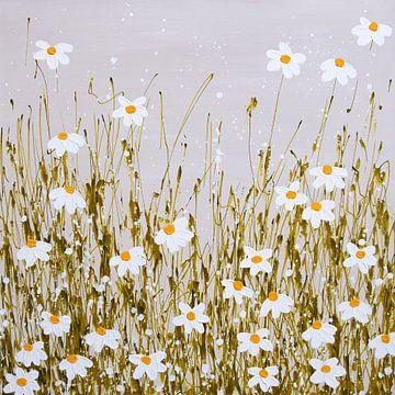Schilderij bloemenveld / bloemen madeliefjes van Bianca ter Riet