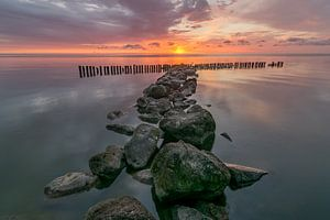 Sunrise at the IJsselmeer lake at Enkhuizen in The Netherlands