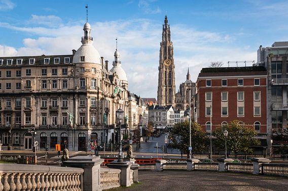 Uitzicht Suikerrui en Onze-Lieve-Vrouwekathedraal Antwerpen van Frenk Volt