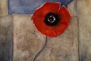 Aan de muur - Red Poppy van Christine Nöhmeier