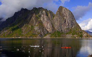 Kayak dans les fjords de l'archipel des Lofoten en Norvège sur Coos Photography