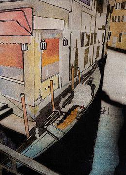 Aangemeerde gondel in Venetië | Aquarel schilderij van WatercolorWall