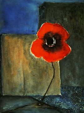 Muurbloem - Rode papaver van Christine Nöhmeier