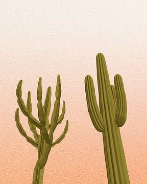 2 cactussen met de zonsondergang van Klaudia Kogut