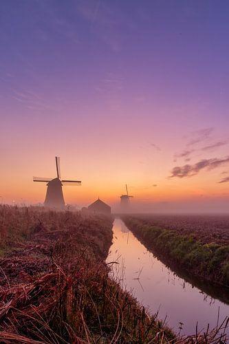 Kleurrijke zonsopkomst bij de Schermer molens