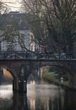 Cycliste au soleil de l'après-midi - Geertebrug / Oudegracht - Utrecht sur Coen Koppen