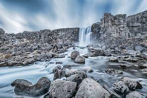 Öxarárfoss Waterval IJsland, Öxarárfoss Waterfall Iceland van
