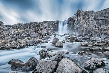 Öxarárfoss Wasserfall Island von Leon Brouwer